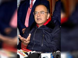Union Finance Minister Arun Jaitley during a press conference in Amritsar