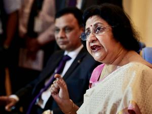 SBI Chairman Arundhati Bhattacharya addresses a press conference in Chennai