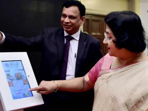 SBI Chairman Arundhati Bhattacharya with B Ramesh Babu, CGM SBI Chennai