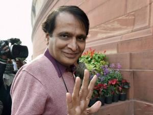Railway Minister Suresh Prabhu arrives at the Parliament house for the budget session in New Delhi