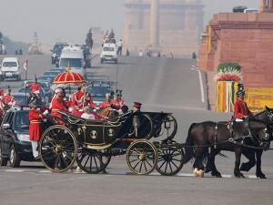 President Pranab Mukherjee surrounded by his mounted Presidential guards at Raisina Hill as he arrives in a horse-drawn Buggy to address the Budget Session of Parliament