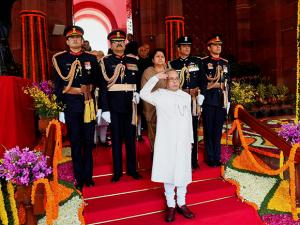President Pranab Mukherjee taking salute ahead of addressing the joint session of Parliament on the first day of Budget session