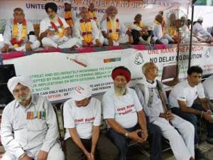 Ex-servicemen protesting for One Rank One Pension at Jantar Mantar
