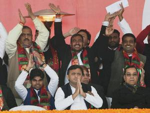 Akhilesh Yadav with his supporters