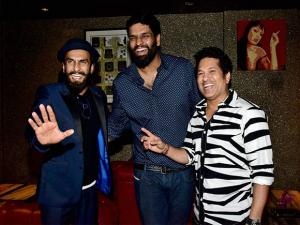 Sachin Tendulkar and actor Ranveer Singh at the birthday bash of Ravi Bhagchandka