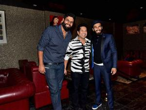 Sachin Tendulkar and Ranveer Singh at the birthday bash of Ravi Bhagchandka