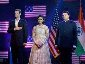 Devendra Fadnavis, U S Consul General, Tom Vajda and Miss America 2014, Nina Davuluri during the celebration of the American Independence anniversary
