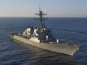 In this image provided by the U.S. Navy, the guided-missile destroyer USS Porter (DDG 78) transits the Mediterranean Sea