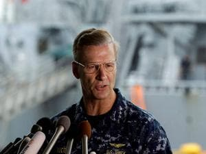 Vice Adm. Joseph Aucoin, Commander of the U.S. 7th Fleet, speaks during a press conference