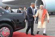 PM Modi with US President Mr.Barack Obama at Palam Airport, New Delhi