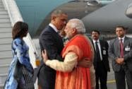 PM Narendra Modi warmly welcomes Presdent Barack Obama