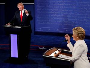 Hillary Clinton debates with Donald Trump during the third presidential debate