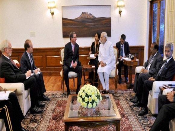 Prime Minister of India, Narendra Modi, Sushma Swaraj, Manohar Parrikar, US Secretary of Defence, Ashton Carter, New Delhi