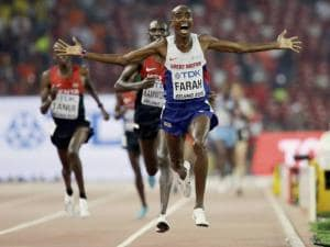 Britain's Mo Farah reacts after winning World Athletics Championships