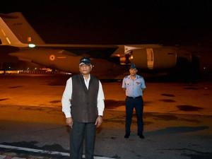 Minister of State for External Affairs V K Singh arrives at AFS Palam