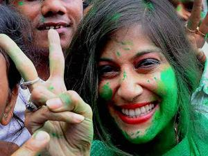 Former BCCI President late Jagmohan Dalmiya's daughter and TMC candidate Vaishali Dalmiya flashes victory sign after she won the Assembly election in Howrah district in West Bengal