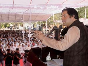 BJP MP Varun Gandhi addressing a rally in Indore