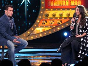 Salman Khan with  Vidya Balan during the TV show Bigg Boss