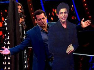 Salman Khan with  Vidya Balan during the TV show Bigg Boss  season 10