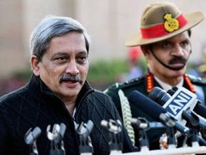 Defence Minister Manohar Parrikar speaks to media after paying homage to the martyrs