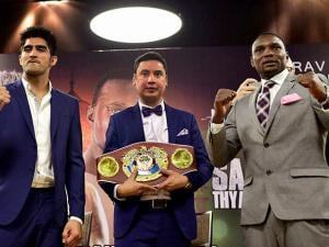 Indian boxing star Vijender Singh  and Francis Cheka, current intercontinental Champion with Neerav Tomar