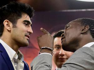 Indian boxing star Vijender Singh with  Francis Cheka, current intercontinental Champion