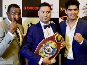 Vijender Singh and Francis Cheka, current intercontinental Champion with Neerav Tomar
