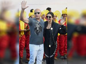 Vin Diesel and  Deepika Padukone at Mumbai airport