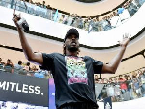 RCB player Chris Gayle during an event at a mall in Bengaluru