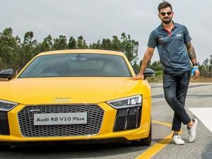 Cricketer Virat Kohli poses during the launch of the next generation Audi R8 V10 Plus at Denkanikotta Taluk, Belagondapalli near Bengaluru