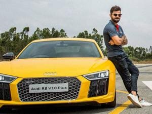 Cricketer Virat Kohli poses during the launch of the next generation Audi R8 V10 Plus at Denkanikotta Taluk, Belagondapalli near Bengaluru (2)