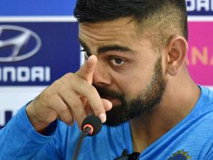 India's Captain Virat Kohli addressing a press conference during the practice session