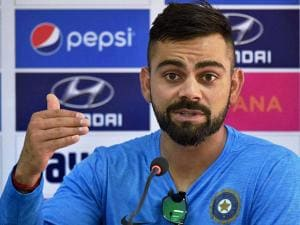Virat  Kohli  addressing a press conference during the practice session