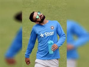 Virat  Kohli during the practice session at Green Park