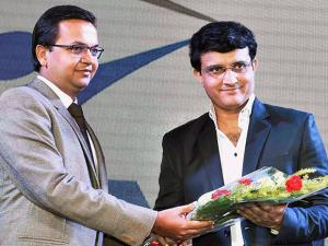 Sourav Ganguly is greeted by Director, BMA Stainless Ltd, Avinash Agarwala