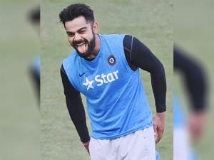 Virat Kohli during a  practice session ahead of the 4th test match  against England