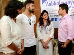 Cricketer Virat Kohli at a visit to Aabhalmaya Old Age Home in Pune