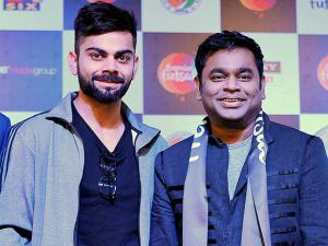 Cricketer Virat Kohli and music composer A R Rahman who will compose the official anthem of the Premier Futsal League, in Madras