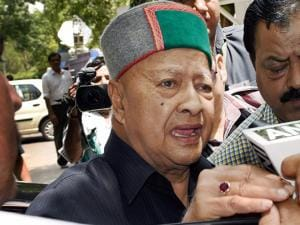 Himachal Pradesh Chief Minister Virbhadra Singh arrives to appear before the Enforcement Directorate (ED) in New Delhi