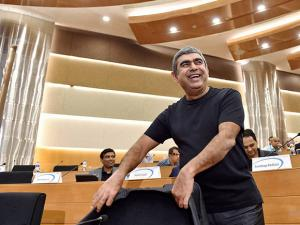 Infosys CEO Vishal Sikka during a press conference
