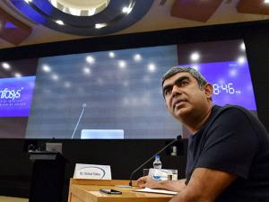 Infosys CEO Vishal Sikka speaks during a press conference to announce the first quarter results
