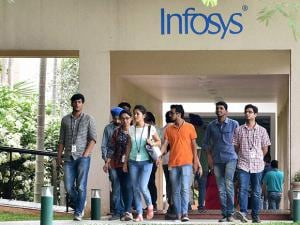 Infosys employees going for lunch during announcement of the first quarter
