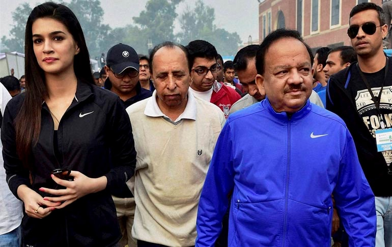 Union Minister for Health, Family Welfare, Harsh Vardhan, actor, Kriti Sanon, flagging off, 'Walk for Health', New Delhi