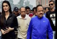 Union Minister for Health and Family Welfare Harsh Vardhan with actor Kriti Sanon