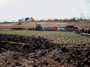 Disilting work going on in Taganpur Tank spread in 25 acres in Aurad taluk in Bidar, Karnataka