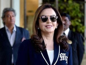 Mumbai Indians owner Neeta Ambani arrives to participate in the IPL players auction