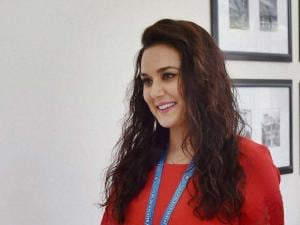 Preity Zinta at the IPL players auction