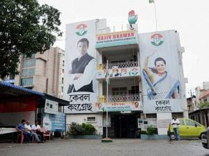 A deserted look of Congress office Rajiv Bhawan due to the party's defeat in Assam Assembly Elections, in Guwahati