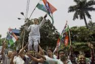 Young TMC supporters jubilate after the declaration of Kolkata Municipal Corporation