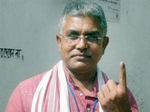 West Bengal BJP president and party's candidate from Kharagpur Sadar constituency, Dilip Ghosh shows his ink-marked finger after casting vote at West Midnapore district in West Bengal